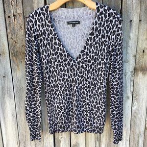 Express Design Studio Leopard Print Sweater Gray M
